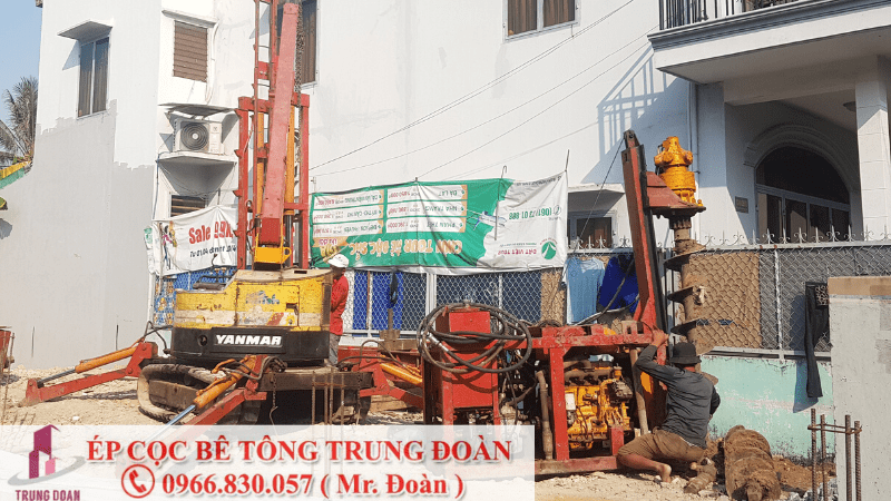 Ép cọc bê tông huyện Tân Phú bằng máy neo