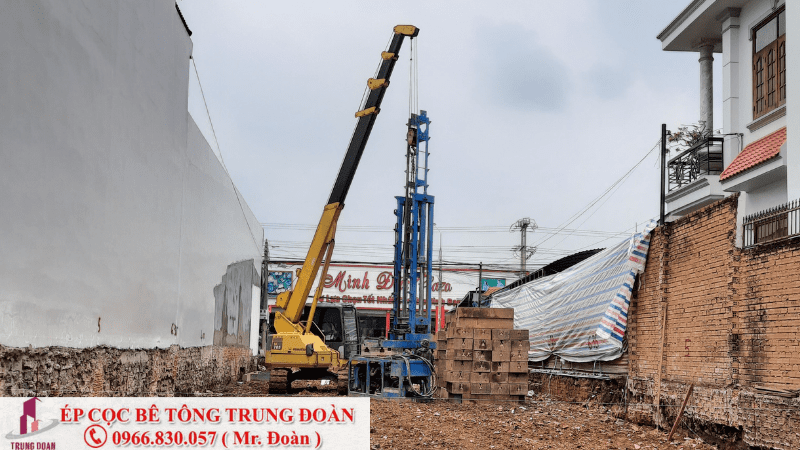 Công trình ép cọc bê tông xây nhà 2 tầng, 3 tầng
